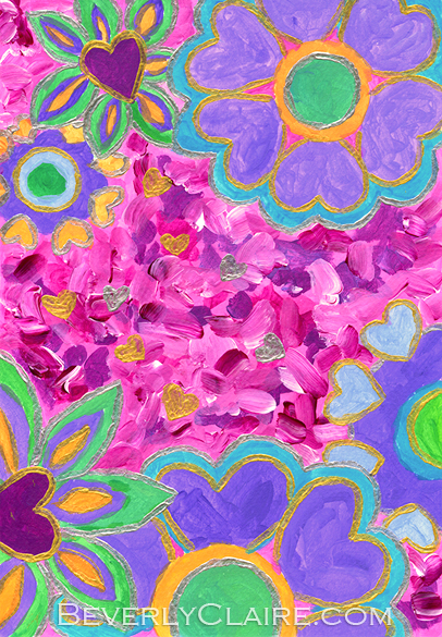 Girly Heart-Shaped Valentine Florals Acrylic Painting
