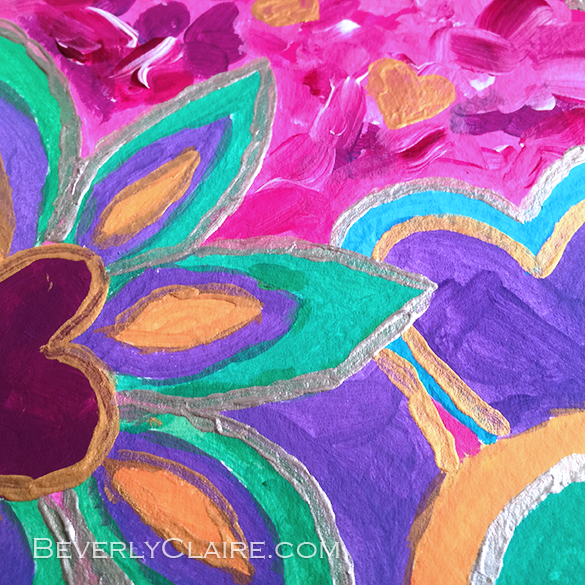"Detail screenshot of ""Girly Heart-Shaped Valentine Floral"" acrylic painting"