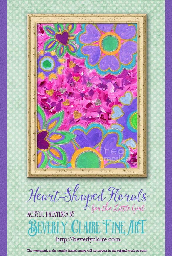 "Framing idea for ""Girly Heart-Shaped Valentine Floral"" acrylic painting's enlarged art print version."