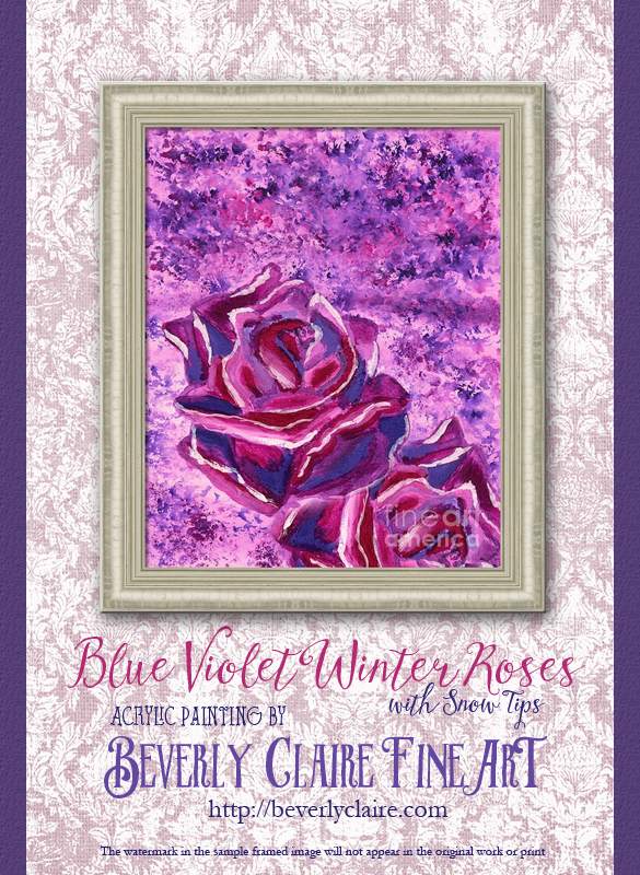 Blue Violet Winter Roses Acrylic Painting