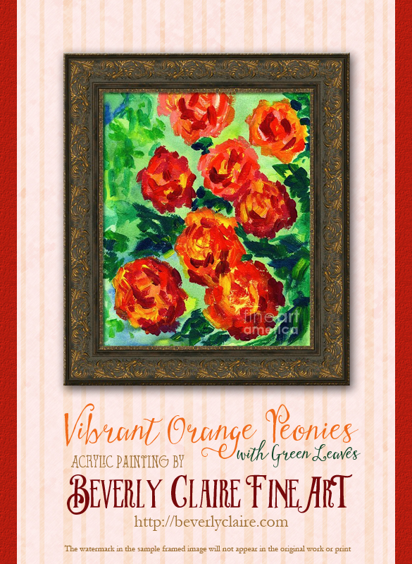 "Framing idea for ""Vibrant Orange Peonies Acrylic Painting"" acrylic painting's enlarged art print version."