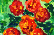Vibrant Orange Peonies Acrylic Painting