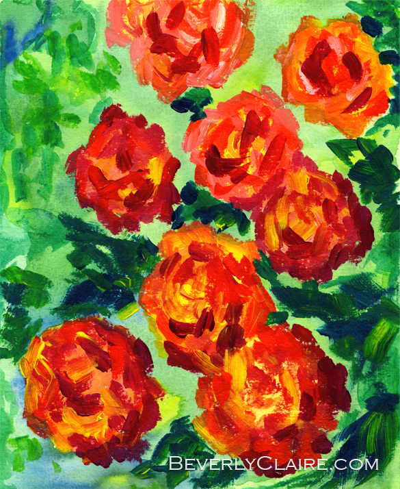 Vibrant Orange Peonies with Green Leaves
