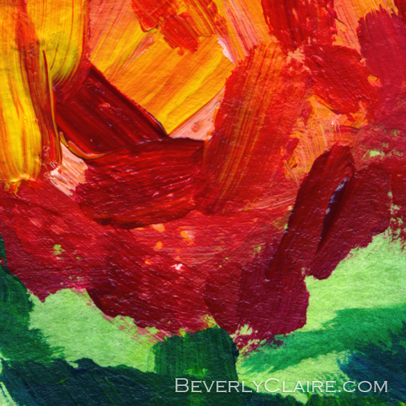 "Detail screenshot of ""Vibrant Orange Peonies Acrylic Painting"" acrylic painting"