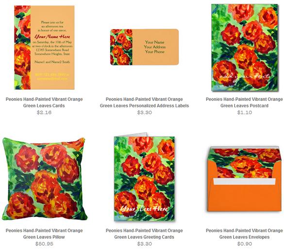 Vibrant Orange Peonies Acrylic Painting Stationery Set