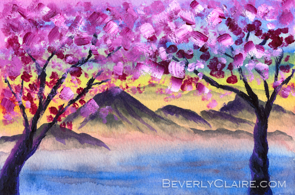 """Cherry Blossom Trees by the Lake at Dusk"" by Beverly Claire Kaiya. Note: The watermark in the preview above will not appear on the original work."