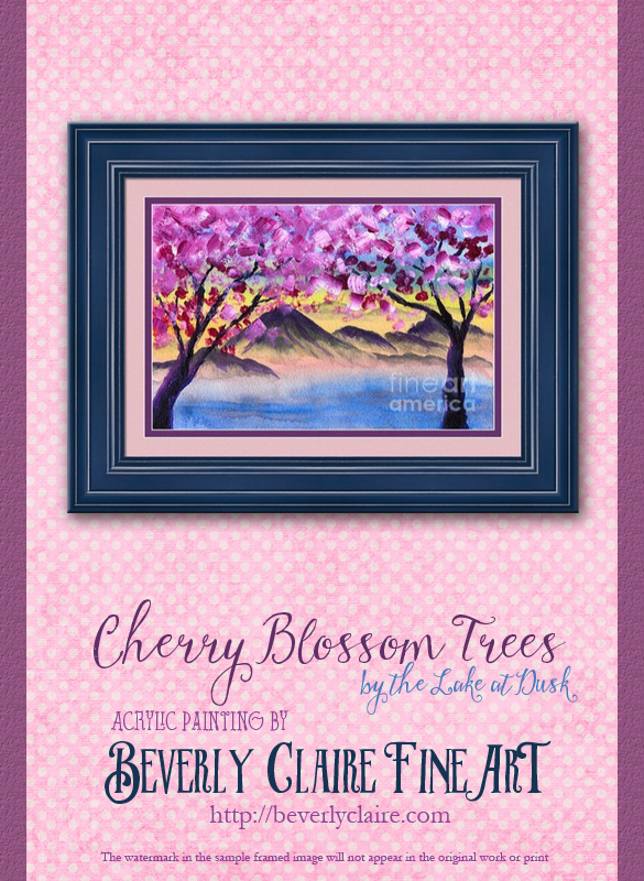 "Framing idea for ""Cherry Blossom Trees by the Lake at Dusk"" acrylic painting's enlarged art print version."