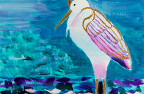 Great White Heron by the Lake Shore Acrylic Painting