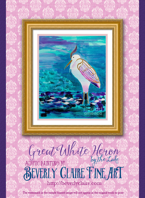 "Framing idea for ""Great White Heron by the Lake Shore"" acrylic painting's enlarged art print version."