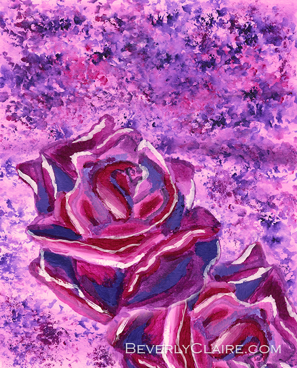 """Blue Violet Winter Roses Acrylic Painting"", acrylic on paper painting by Beverly Claire Kaiya. Note: The watermark in the preview above will not appear on the original work."