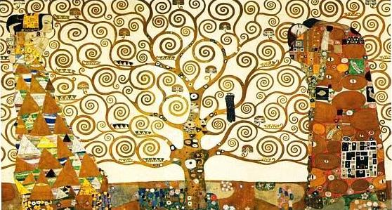 """The Tree of Life, Stoclet Frieze"" by Gustav Klimt, 1909. Oil on canvas, 195cm x 102cm (77in x 40in). Museum of Applied Arts, Vienna, Austria."