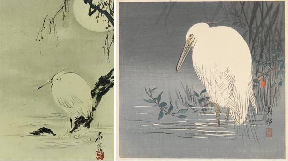Ukiyo-e woodblock prints of white heron